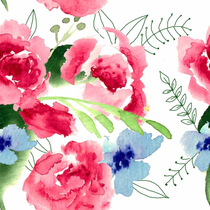 Watercolor garden and wild red flowers. Watercolor Floral bouquet illustration